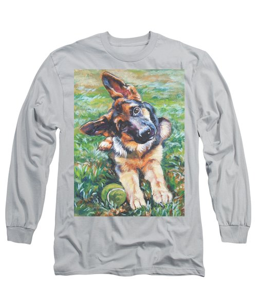 German Shepherd Pup With Ball Long Sleeve T-Shirt by Lee Ann Shepard