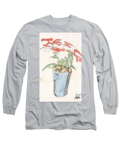 Long Sleeve T-Shirt featuring the drawing Gesture Drawing Of Poinsettia by Rod Ismay