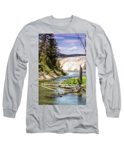 Long Sleeve T-Shirt featuring the photograph Geyser Stream by Dawn Romine