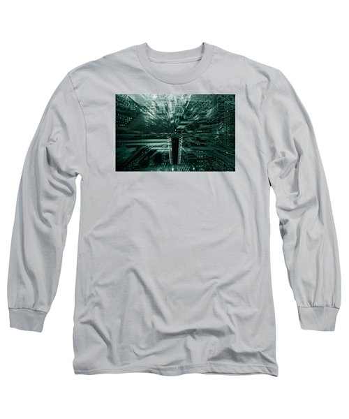 Ginat Microchip Hovering Above Circuit-board Long Sleeve T-Shirt by Christian Lagereek