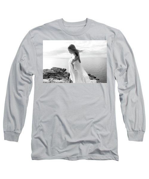 Girl In A White Dress By The Sea Long Sleeve T-Shirt