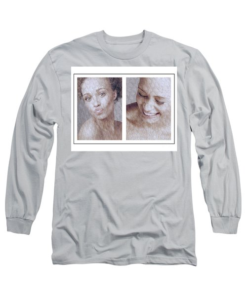 Girl Pouting And Laughing Long Sleeve T-Shirt by Michael Edwards