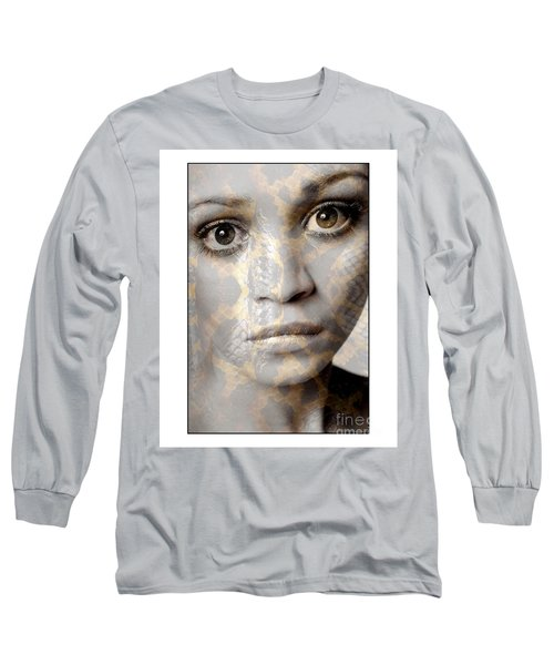 Girls Face With Snake Skin Texture Long Sleeve T-Shirt by Michael Edwards