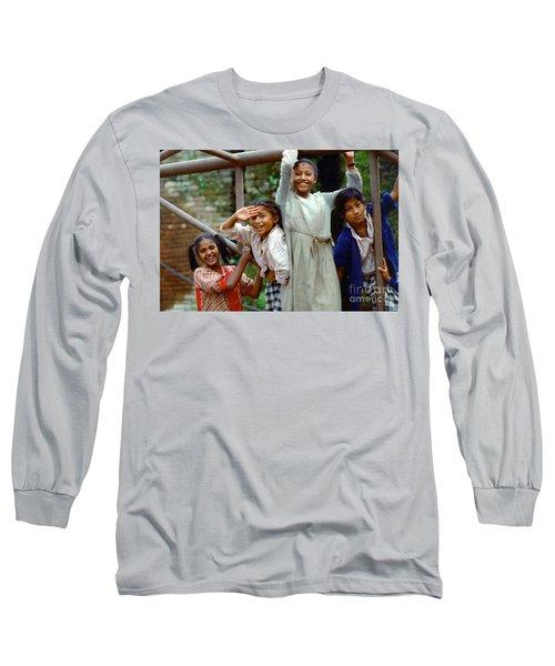 Girls Smiling In Kathmandu, Nepal Long Sleeve T-Shirt
