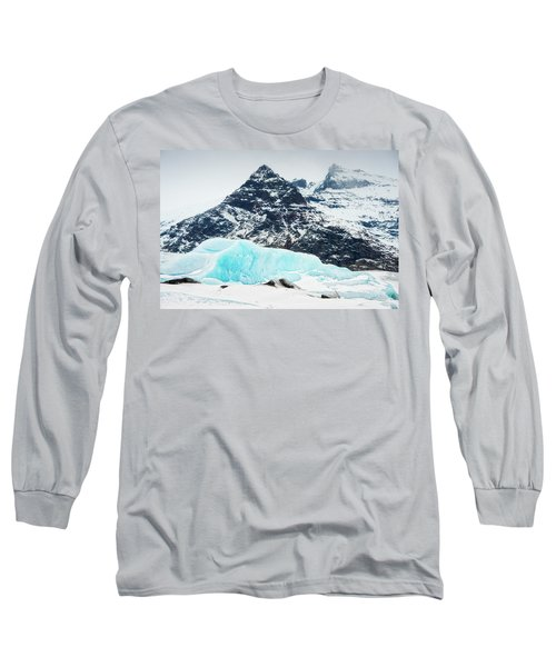 Long Sleeve T-Shirt featuring the photograph Glacier Landscape Iceland Blue Black White by Matthias Hauser