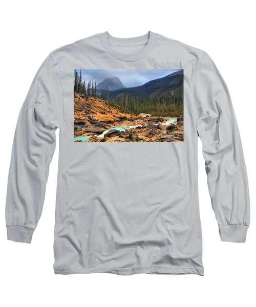 Long Sleeve T-Shirt featuring the photograph Glacier Waters Flowing Through Yoho National Park by Adam Jewell