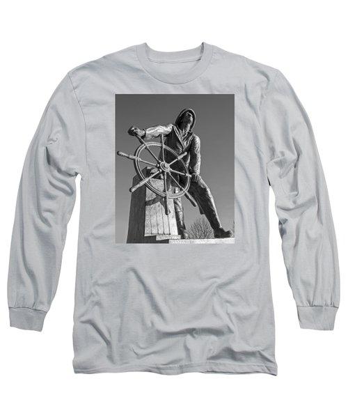 Gloucester Fisherman's Memorial Statue Black And White Long Sleeve T-Shirt