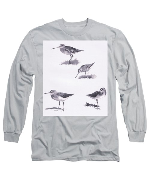 Godwits And Green Sandpipers Long Sleeve T-Shirt by Archibald Thorburn