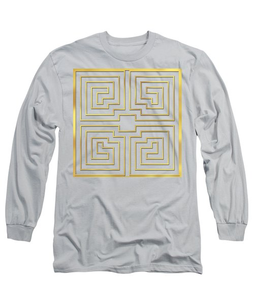 Long Sleeve T-Shirt featuring the digital art Gold Stripes Transparent by Chuck Staley