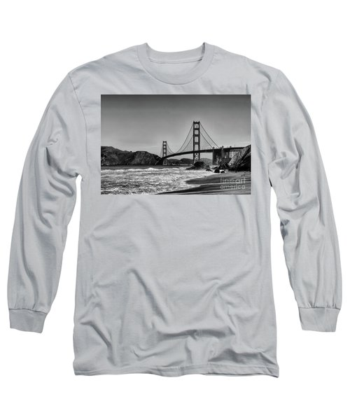 Golden Gate Bridge Black And White Long Sleeve T-Shirt by Peter Dang