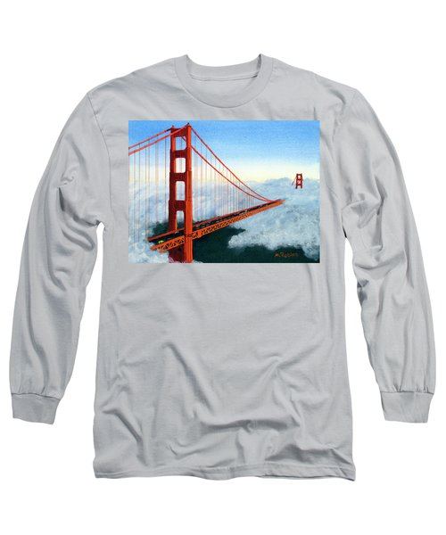 Golden Gate Bridge Sunset Long Sleeve T-Shirt by Mike Robles