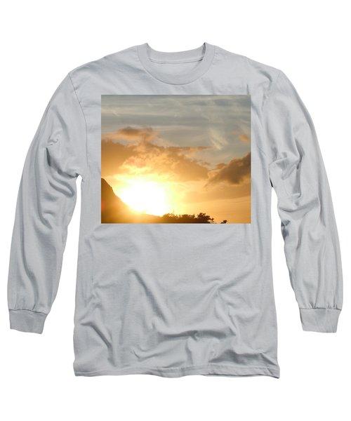 Golden Oahu Sunset Long Sleeve T-Shirt by Karen J Shine