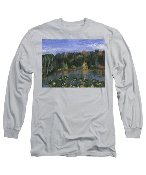 Long Sleeve T-Shirt featuring the painting Golden Pagoda by Jamie Frier