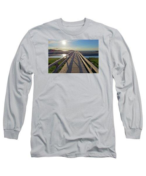 Good Harbor Beach Footbridge Sunny Shadow Long Sleeve T-Shirt