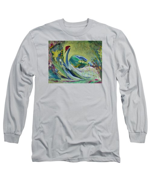 Graceful Swan Long Sleeve T-Shirt by Denise Hoag