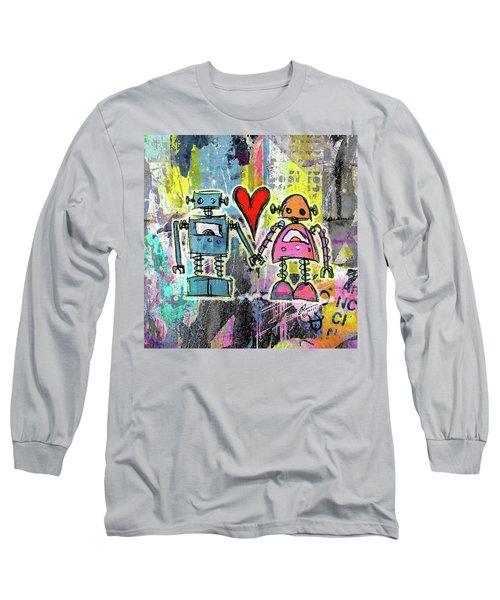 Graffiti Pop Robot Love Long Sleeve T-Shirt by Roseanne Jones