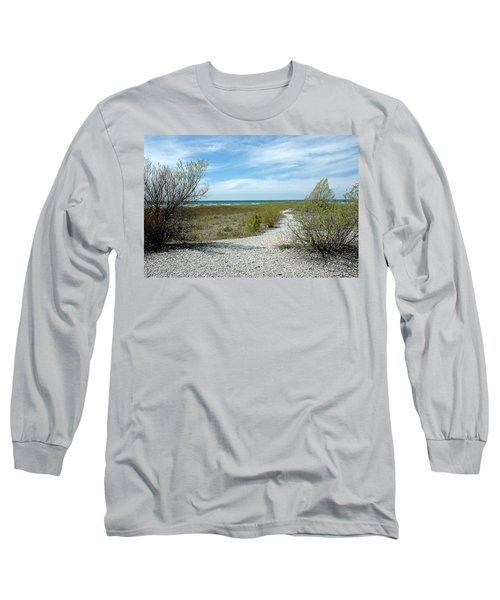 Long Sleeve T-Shirt featuring the photograph Grand Traverse Bay Path by LeeAnn McLaneGoetz McLaneGoetzStudioLLCcom