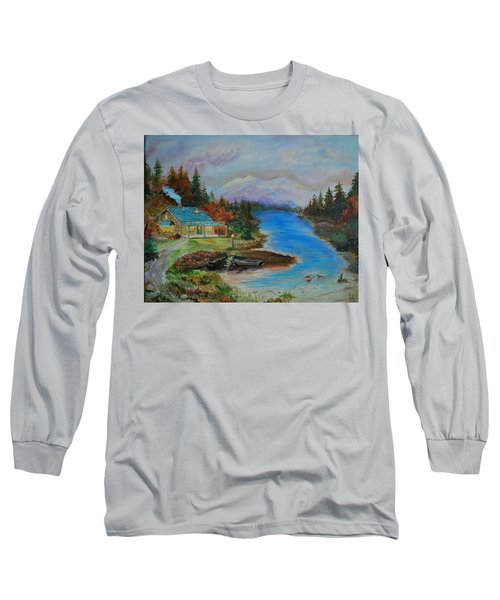 Long Sleeve T-Shirt featuring the painting Grandmas Cabin by Leslie Allen