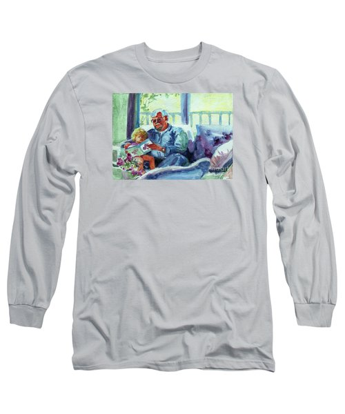 Long Sleeve T-Shirt featuring the painting Grandpa Reading by Kathy Braud