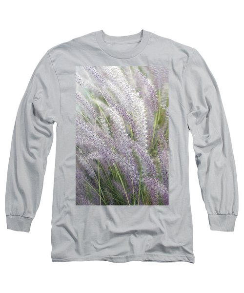 Long Sleeve T-Shirt featuring the photograph Grass Is More - Nature In Purple And Green by Ben and Raisa Gertsberg