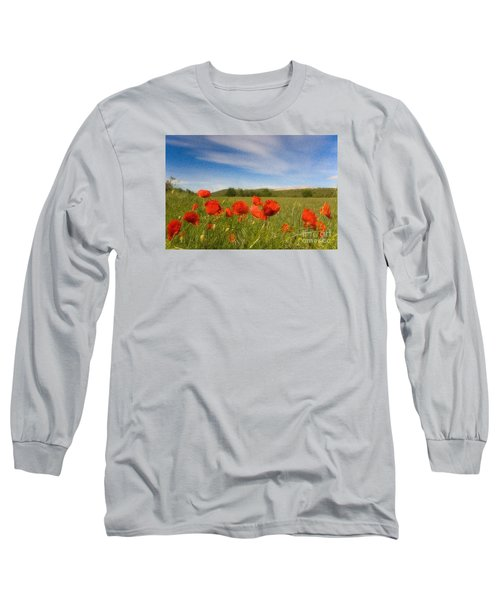 Long Sleeve T-Shirt featuring the photograph Grassland And Red Poppy Flowers by Jean Bernard Roussilhe