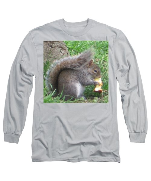 Gray Squirrel With An Apple Core Long Sleeve T-Shirt