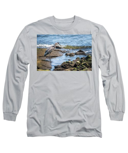 Great Blue Heron Fishing On The Chesapeake Bay Long Sleeve T-Shirt
