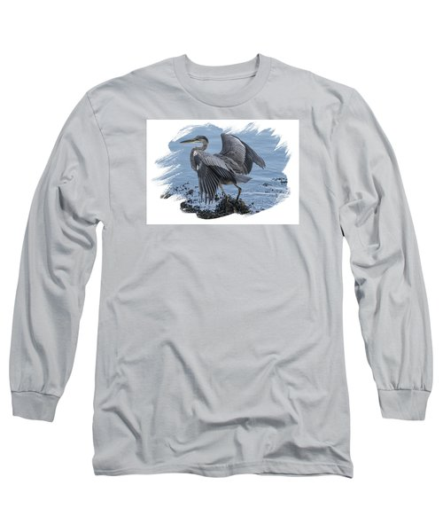 Long Sleeve T-Shirt featuring the photograph Great Blue Heron On Cape Cod Canal 2 by Constantine Gregory