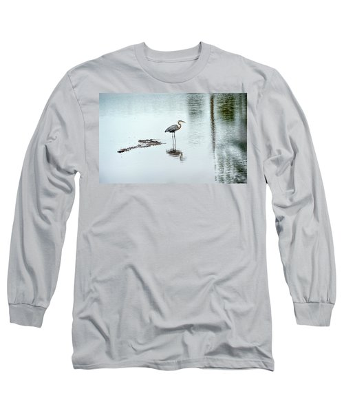 Great Blue Heron On Chesapeake Bay Pond Long Sleeve T-Shirt