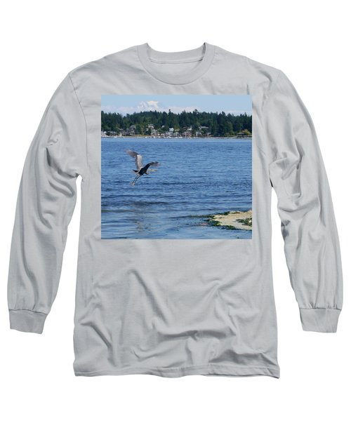 Great Blue Heron Long Sleeve T-Shirt by Peter Mooyman