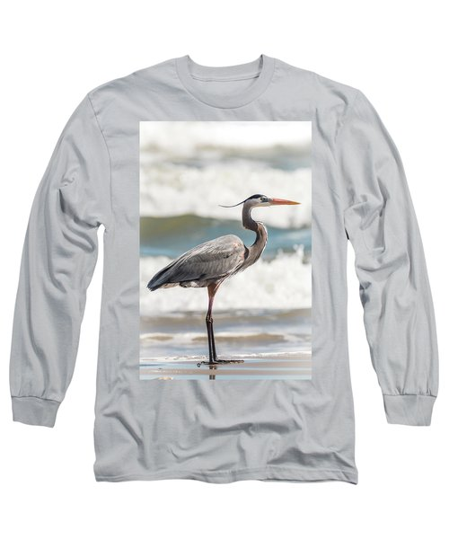 Great Blue Heron Profile Long Sleeve T-Shirt
