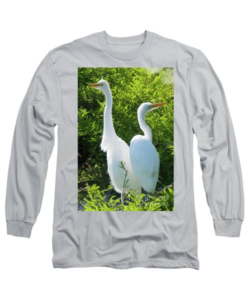 Great Egrets Standing Watch Long Sleeve T-Shirt