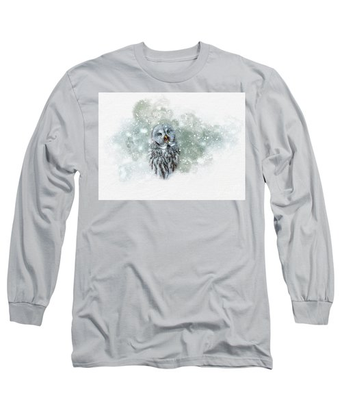 Great Grey Owl In Snowstorm Long Sleeve T-Shirt