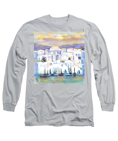 Greece- The White Houses Of Mykonos Long Sleeve T-Shirt