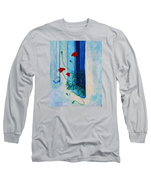 Long Sleeve T-Shirt featuring the painting Greek Poppies by Xueling Zou