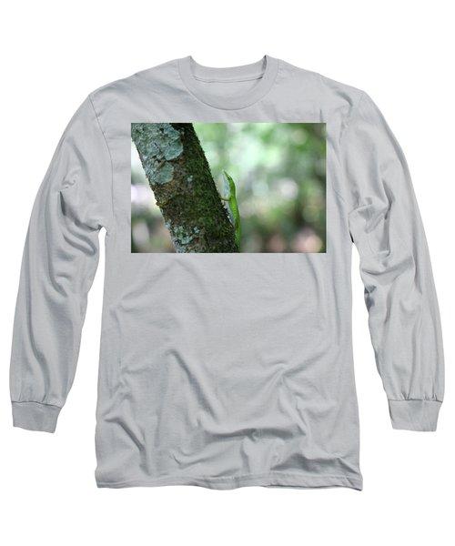 Green Anole Climbing Long Sleeve T-Shirt
