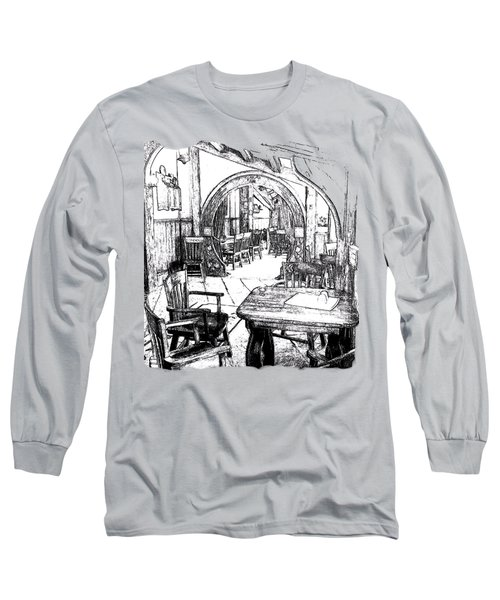 Long Sleeve T-Shirt featuring the drawing Green Dragon Inn's Writing Nook T-shirt by Kathy Kelly