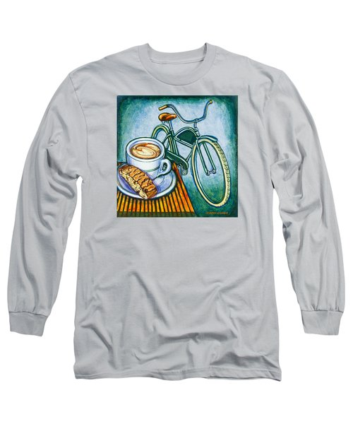 Green Electra Delivery Bicycle Coffee And Biscotti Long Sleeve T-Shirt by Mark Jones