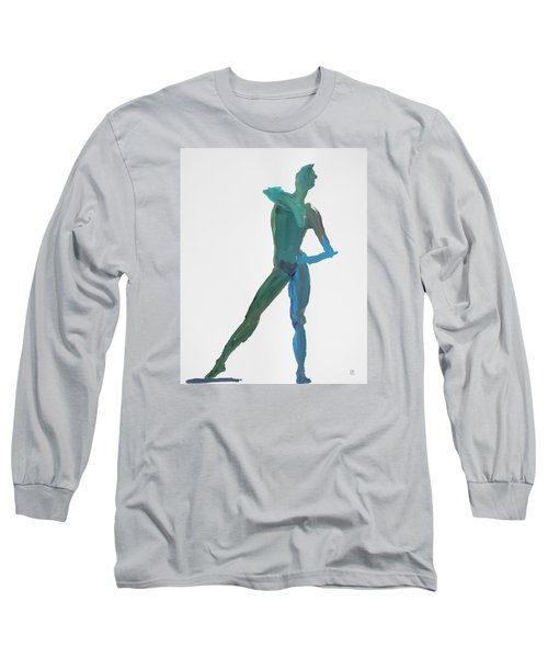 Long Sleeve T-Shirt featuring the painting Green Gesture 2 Pointing by Shungaboy X
