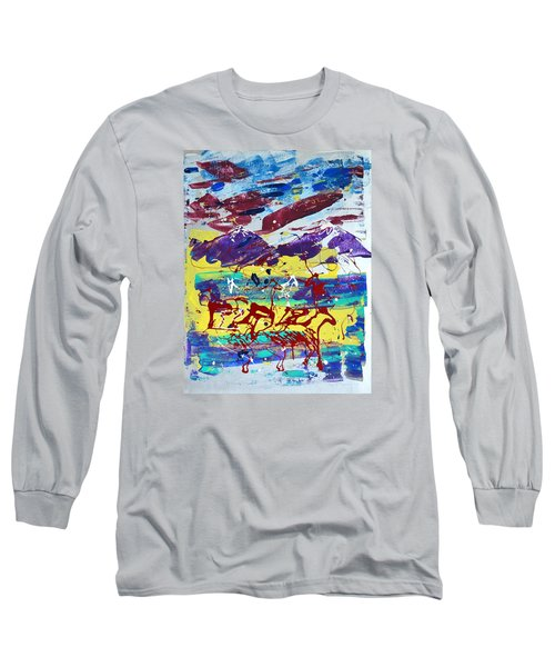 Long Sleeve T-Shirt featuring the painting Green Pastures And Purple Mountains by J R Seymour