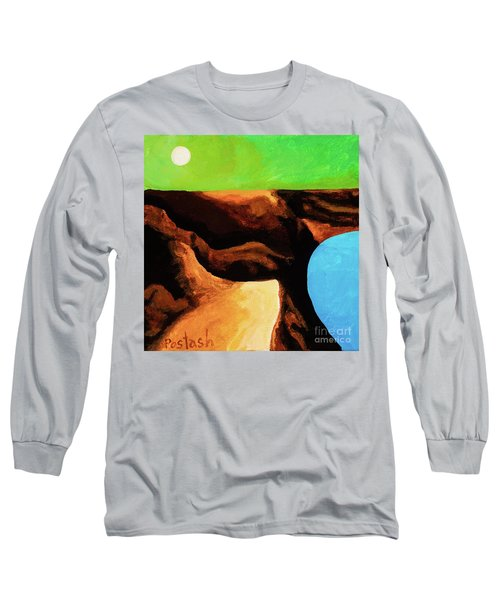 Long Sleeve T-Shirt featuring the painting Green Skies by Igor Postash