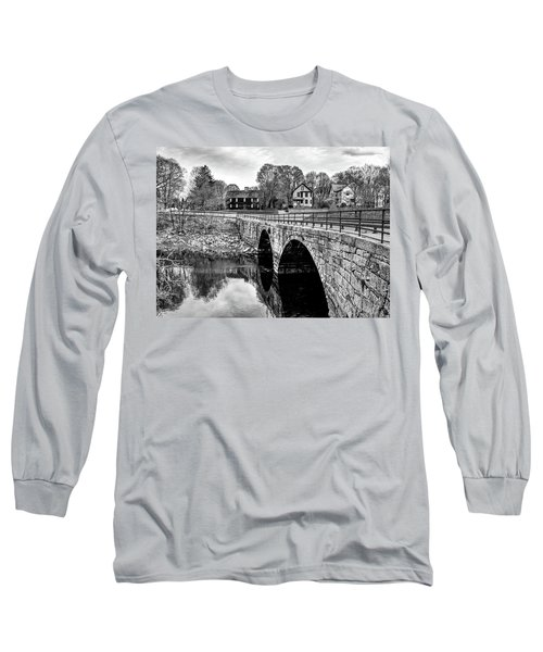 Long Sleeve T-Shirt featuring the photograph Green Street Bridge In Black And White by Wayne Marshall Chase
