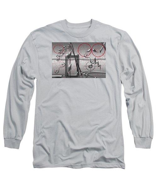 Grey And Red Circles Long Sleeve T-Shirt