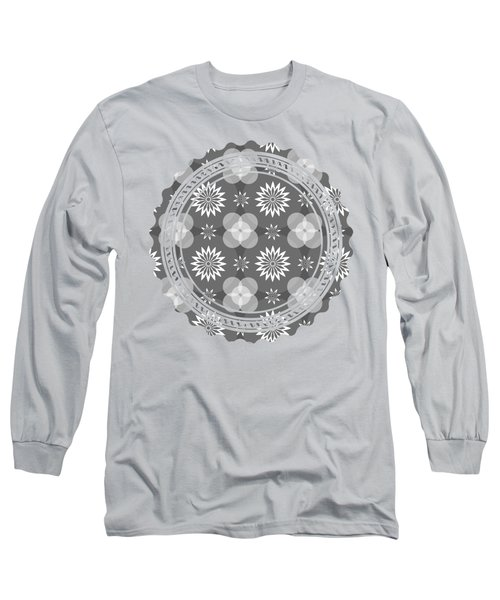 Grey Circles And Flowers Pattern Long Sleeve T-Shirt