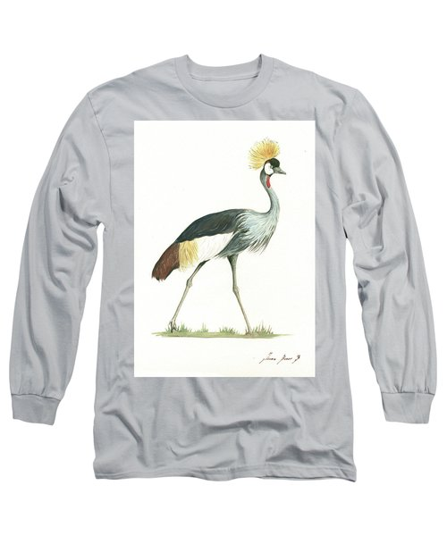 Grey Crowned Crane Long Sleeve T-Shirt