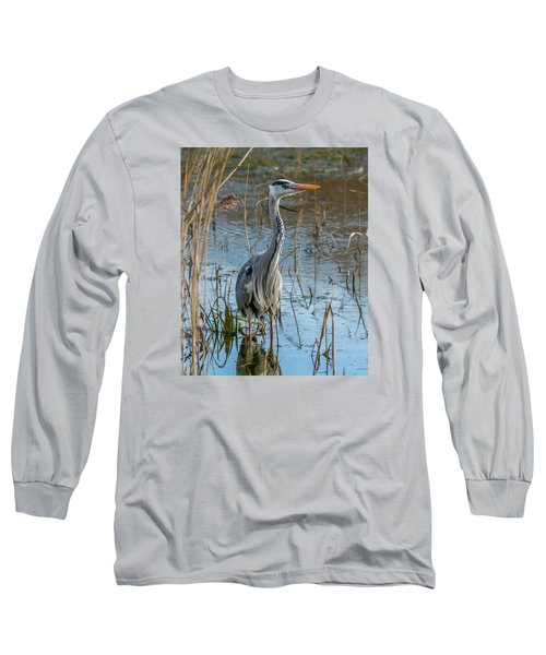 Grey Heron Hunting Long Sleeve T-Shirt