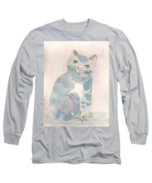 Long Sleeve T-Shirt featuring the painting Grey Tabby by Terry Taylor