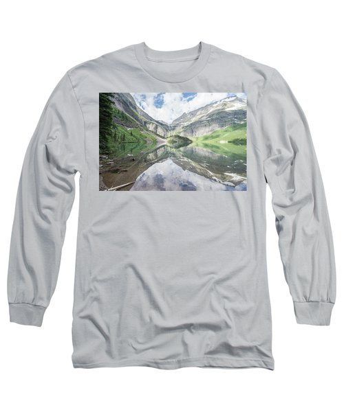Grinnell Lake Mirrored Long Sleeve T-Shirt by Alpha Wanderlust