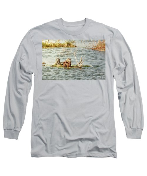 Grinning Nutria On Reeds Long Sleeve T-Shirt by Robert Frederick