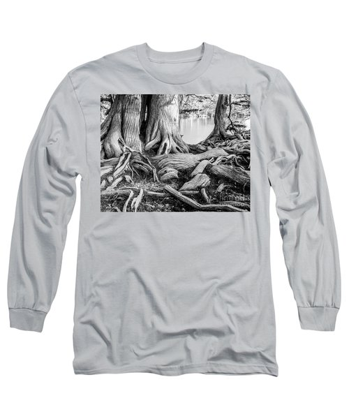 Guadalupe Bald Cypress In Black And White Long Sleeve T-Shirt